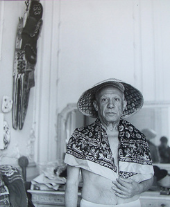 Portrait of Picasso with Straw Hat and Scarf,