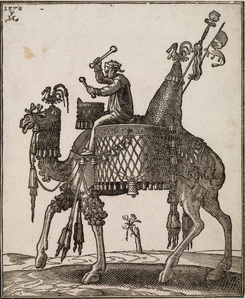 A kettledrum player riding a camel In profile to left; the camel with ornate saddle and bridle from which bells are dangling