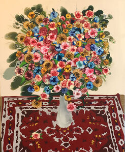 Bouquet with Red Rug