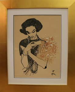 Drawing of a Lady Receiving a Bunch of Flowers, by René Gruau