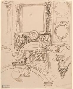 Architectural Details for a Wall Decoration with Empress Maria Theresia Embracing the Young Wolfgang Amadeus Mozart