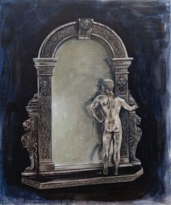 Nudist Museum Giftshop: Silver Mirror with Nude Bodybuilder