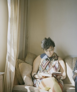 Abigail reading Angela Davis (An Autobiography, 1974) From the series Reading Women