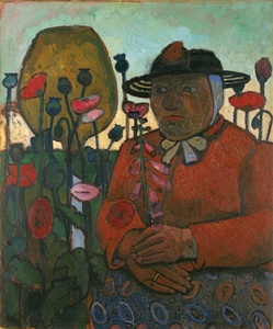 Alte Armenhäuslerin im Garten mit Glaskugel und Mohnblumen (Old Woman from the Poorhouse in the Garden with Glass Globe and Poppies)