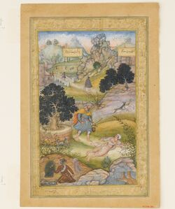 """A Muslim Pilgrim Learns a Lesson in Piety from a Brahman"", Folio from a Khamsa (Quintet) of Amir Khusrau Dihlavi"