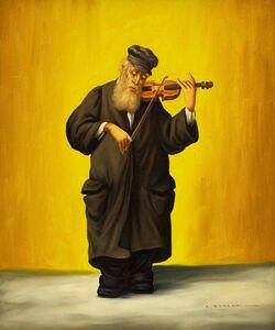 Rare Judaica Rabbi Painting