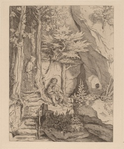 A Monk with a Bagpipe Player