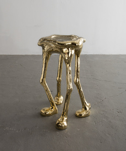 """Unique """"Hexoteric"""" hex side table with brass tiles. Designed and made by The Haas Brothers, USA, 2016."""