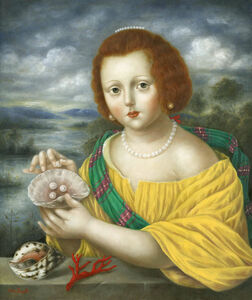 Girl with Pearls, Seashells, and Coral