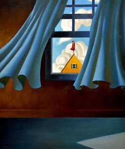 blue curtains, yellow house