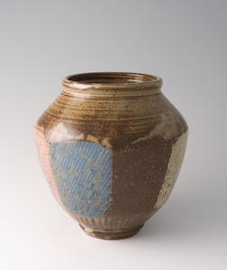Faceted jar, rope and slip inlay with ash glaze