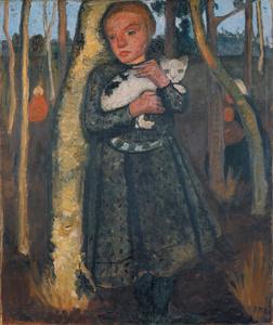 Mädchen im Birkenwald mit Katze (Girl in a Birch Wood with a Cat)