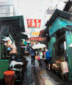 Street scene, green and red, Hong Kong