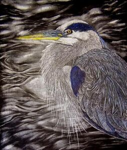 "Tranquil (Blue Heron) (dimensions provided are framed) (unframed: 11"" x 14"")"