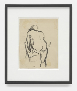 Nude with Foot on Chair, Leaning Forward