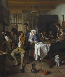 Interior of a Tavern with Card Players and a Violin Player