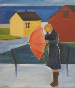 Woman in Reykjavík with Umbrella
