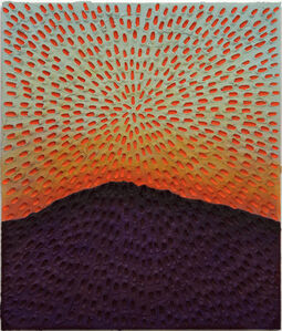 Worlds In Motion (Painted Light Blue Sand SF #1C, Blue-Orange Sky, Purple-Brown Mountain)