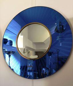 Round Blue Framed Mirror