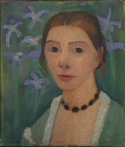Autoportrait sur Fond Vert avec des Iris Bleus