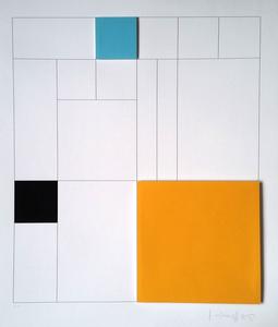 Composition 3 carrés 3D (turquoise, orange, noir)