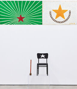 Untitled (union chair with star paintings)