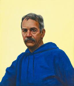 Self Portrait in Blue Hooded Sweatshirt