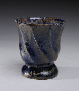Sake Cup Fluted with Blue