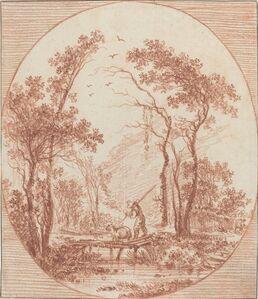 A Farmer and a Sheep Crossing a Rustic Bridge