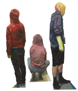 Hoodies (group of 3 individual figure sculptures)