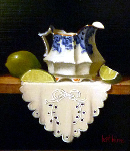 Argyle Creamer, Limes, and Cloth (dimensions are with frame)