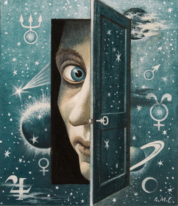 Fables - Man Peeking Through the Door to Space