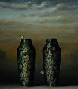 Two Vases with Hummingbird
