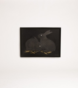 Lacquered Panel Depicting Rabbits
