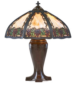 Large table lamp with grape overlay shade, Meriden, CT