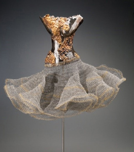 Female Torso, Clay with Gold and Wire Mesh
