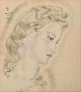 Portrait de profil de femme blonde
