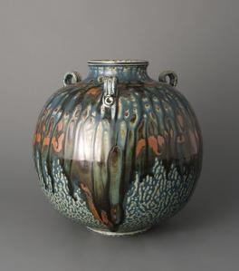 Vase, Blue elm ash glaze