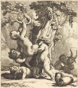 Putti and Fauns Climbing a Grapevine