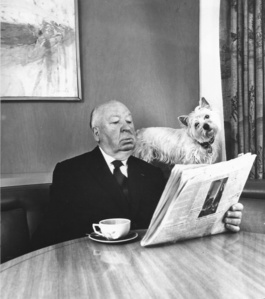 Alfred Hitchcock and his Sealyham Terrier