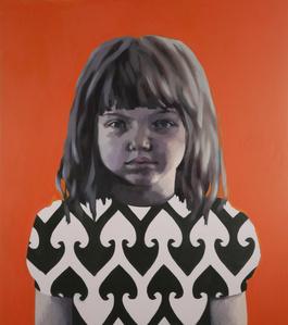 Girl in Black and White against Orange