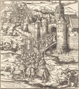 Various Men Kneeling on a Bridge in front of a Town