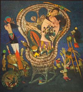 El gran beso de la mina. Homenaje a Gustav Klimt, de la serie Sillones de mimbre