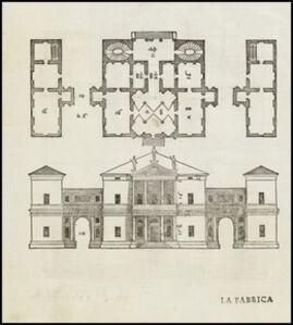 Plan and elevation of the Villa Pisani in Montagnana, Italy