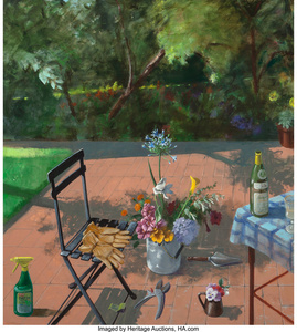 Terrace with Spray Bottle and Garden Gloves (2nd Version)