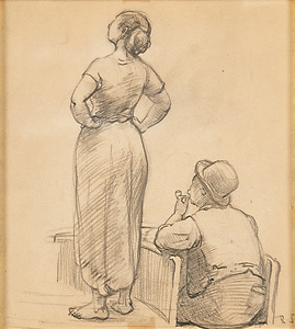Untitled (Study of a Woman and Canal Boatman)