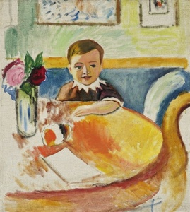Portrait of Walter Macke with Bouquet of Roses