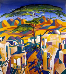 Algeria. Landscape with Donkeys