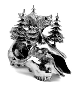 Silverplated Sheep Skull
