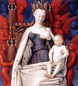 Virgin and Child, right wing of the Melun Diptych